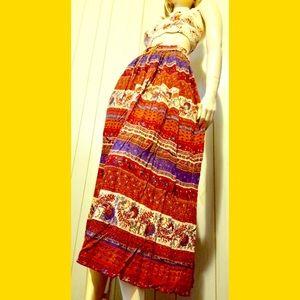🌈VTG 70s Boho Hippie Indian Peasant Gauze Skirt